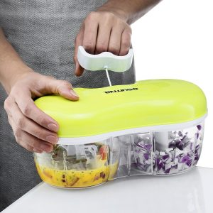 A double-chambered chopper to blend or dice perfectly-sized veggies TWO at a time with just the pull of a string.